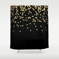 bisexual Shower Curtains featuring Sparkling golden glitter confetti on black by Better HOME