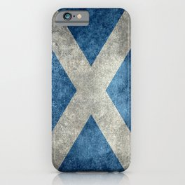 Flag of Scotland in grungy textures iPhone Case