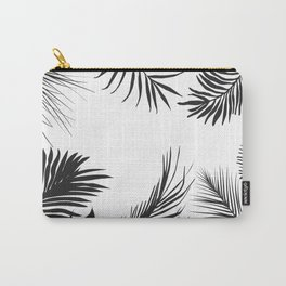 Black And White Palm Leaves Carry-All Pouch