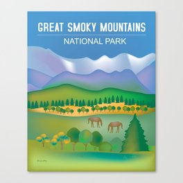 Great Smoky Mountains National Park, Tennessee - Skyline Illustration by Loose Petals Canvas Print