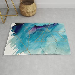 Galaxy Series 1 - a blue and gold abstract mixed media set Rug
