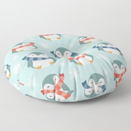 Winter penguins pattern Floor Pillow