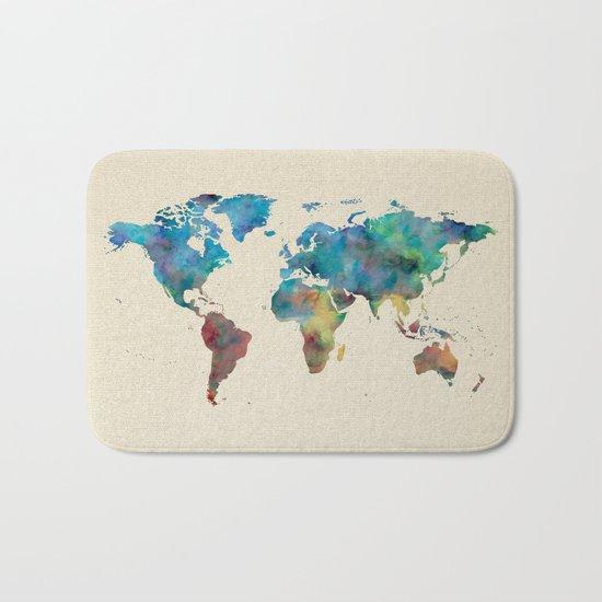World Map Watercolor Linen Blue Red Yellow Green Bath Mat