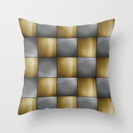Gold Silver Metallic Perforated Metal Checkerboard Pattern Throw Pillow