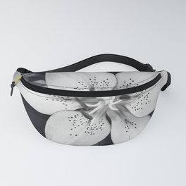 Black and White Lily Flower Photography, Grey Floral Art, Lillies Photo, Grey Lilly Nature Print Fanny Pack