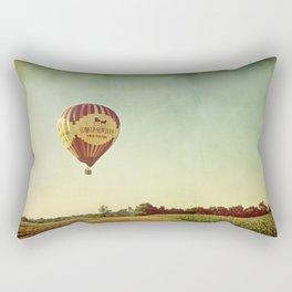 Hot Air Balloon Over Farmland Rectangular Pillow