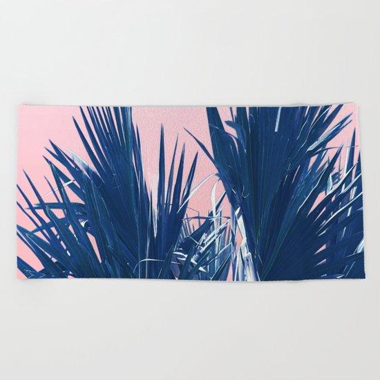 Pink Palm Twist Beach Towel