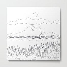 Minimal Mountain Lake Landscape 2 Metal Print
