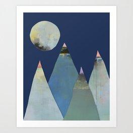 Mountain Peaks & Moon Light Art Print