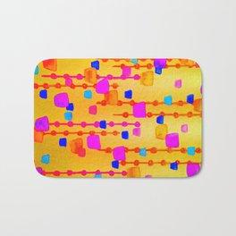 POLKA DOT MATRIX - Bright Bold Cheerful Dotty Geometric Squares Circles Abstract Watercolor Painting Bath Mat