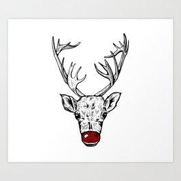 Chritsmas Reindeer Art Print