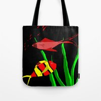 scuba Tote Bags featuring Scuba by Happy Fish Gallery