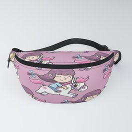 girl with a long tail rides a pony Fanny Pack