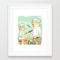 cooking Framed Art Prints featuring Cooking! by Laura Perez Illustration