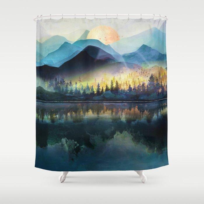 Mountain Lake Under Sunrise Shower Curtain
