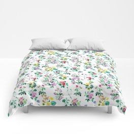 Roses, Moth Orchids, Lilies - Green Pink Blue Comforters
