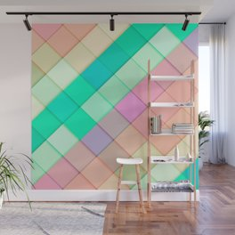 Simple Colorful Pastel Tiles Wall Mural