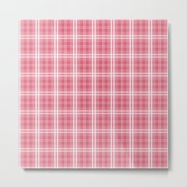 Faded and Shaded Nanucket Red and White Tartan Plaid Check Metal Print
