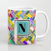 monogram Mugs featuring N Monogram  by mailboxdisco