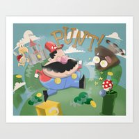 mario Art Prints featuring Mario by Olly Blake