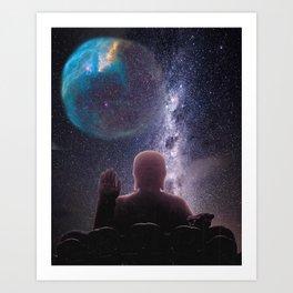 Buddha Solar System Surreal Art Collage Art Print