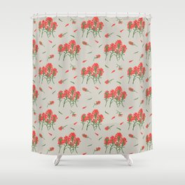 Floral-Indian Paintbrush-Gray Shower Curtain