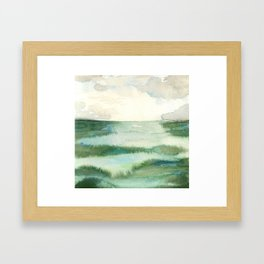 Emerald Sea Watercolor Print Framed Art Print