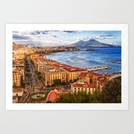 Italy, the gulf of Naples seen from the Posillipo hill Art Print