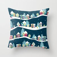 ski Throw Pillows featuring Apres Ski by Polkip