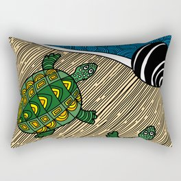 Struggle of the Turtle to the Sea Rectangular Pillow