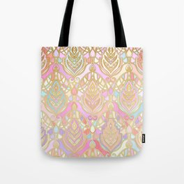 Rosy Opalescent Art Deco Pattern Tote Bag