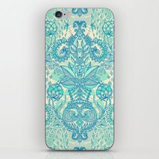 Botanical Geometry - nature pattern in blue, mint green & cream iPhone Skin