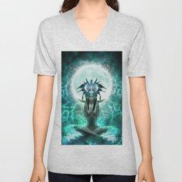 Selene - Moon Goddess - Visionary Art - Manafold Art Unisex V-Neck