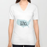usa V-neck T-shirts featuring USA by Gabriela Fuente