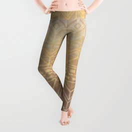 Neutral Tan & Gold Tribal Ikat Pattern Leggings
