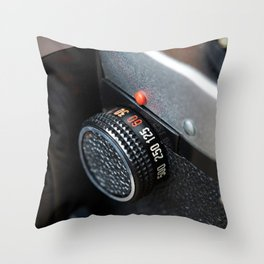 Control dial shutter speed on retro photo camera Throw Pillow
