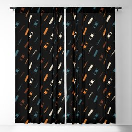Vintage Vaccines - Small on Black Blackout Curtain