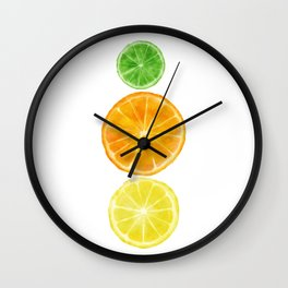 Squeeze the day! Citrus art featuring oranges, lemons, and limes Wall Clock