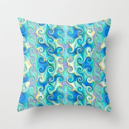 Seamless Wave Spiral Abstract Pattern Throw Pillow