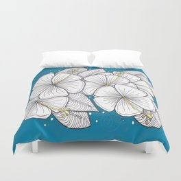 Zentangle Blue and Gold Hibiscus Blossoms for Flower Lovers Duvet Cover