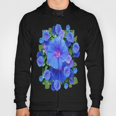 Sky Blue Morning Glory Flowers Coffee Brown Abstract Hoody