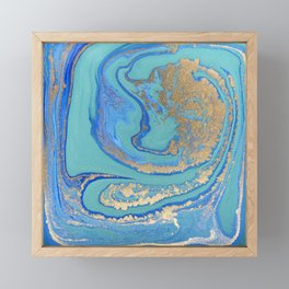 marble stone turquoise and gold Framed Mini Art Print