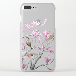 magnolia flowers and birds Clear iPhone Case