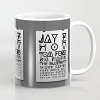 jay z Mugs featuring Eye Test - JAY Z by Studio Samantha