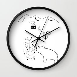 Bear and Berry Tree in the Forest with Mountains – Nordic Style Illustration Wall Clock
