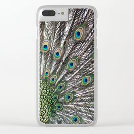 Green Peafowl Feathers Clear iPhone Case