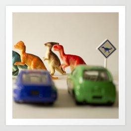 Dinosaurs crossing Art Print