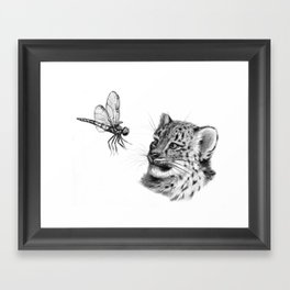 Snow leopard cub and dragonfy G148 Framed Art Print