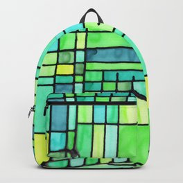 Green Frank Lloyd Wrightish Stained Glass Backpack