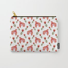 Pretty cute little wild canary birds, red blooming garden tulips, white girly nature pattern. Hello spring. Gift ideas for tulip & canary lovers. Botanical animal artistic design. Carry-All Pouch